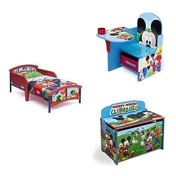 Amazon.com : Disney Mickey Mouse 3-Piece Toddler Bedroom ...