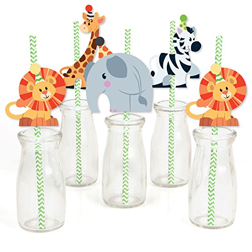 - Paper Straw Decor - Safari Zoo Animal Birthday Party or Baby Shower Striped Decorative Straws - Set of 24 ()