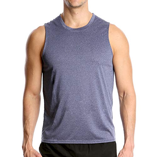 Fort Isle Men's Athletic Gym Tank Tops - S - Blue - Quick Dry Sleeveless Muscle Tee Shirts