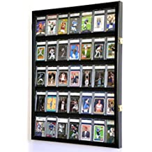 35 Graded Sport Cards / Collectible Card Display Case Wall Cabinet w/98% UV Door, Lockable