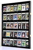 35 Graded Sport Cards/Collectible Card Display Case Wall Cabinet w/98% UV Door, Lockable, Black