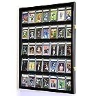 35 Graded Sport Cards / Collectible Card Display Case Wall Cabinet w/98% UV Door, Lockable, Black
