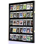 35 Graded Sport Cards / Collectible Card Display Case Wall Cabinet w/98% UV Door, Lockable, Black