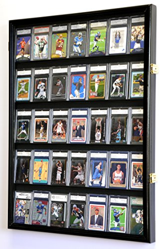 35 Graded Sport Cards/Collectible Card Display Case Wall Cabinet w/98% UV Door, Lockable, Black -