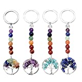 JOVIVI 4pcs 7 Chakra Gemstone Tree of Life Pendant Keychain Healing Crystals Tumbled Stone Beads Keyring for Couple Best Friend Family