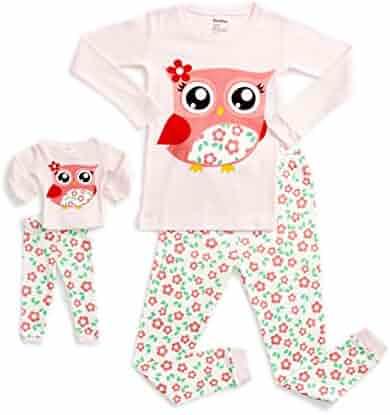5dab7a337e DinoDee Kids Pajamas Matching Doll   Girls Pajamas 2 Piece Pjs Set 100%  Cotton (