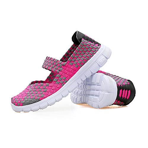Women's Lightweight colorful Woven Shoes Slip-On Casual Walking Shoes Drfit Loafers Rose Red q7lqd6c