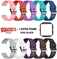 LEEFOX Fitbit Blaze Bands with Frame, Sport Silicone Replacement Strap for Fitbit Blaze Smart Fitness Watch Fit Bit Blaze accessory Wristbands Large, Black White Gray w/ Black Frame