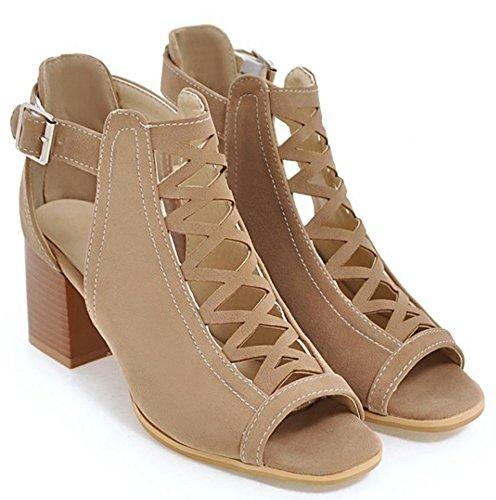 Heels Shoes Women Gladiator Block apricot Sandals IDIFU qEZvzwE
