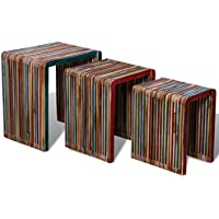 Three Piece Nesting Tables Colorful Reclaimed Teak Wood