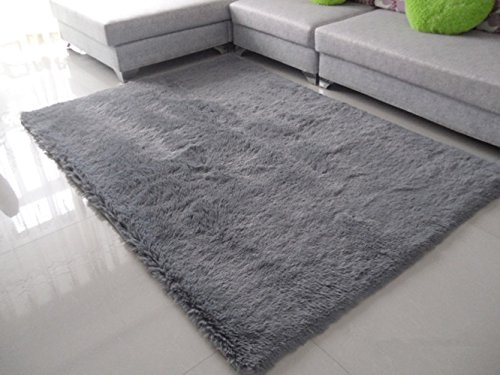 Hughapy Super Soft Shaggy Area Rugs and Solid Carpet Super soft Sitting Room Bedroom Tea Table Floor Mats Washable 80 160cm (Grey)