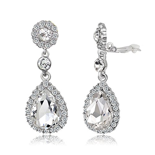 Gorgeous Austrian Cut Crystal Rhinestone Ear Clip on Earring Wedding Bridal Teardrop Drop Dangle Earrings (Clip on White)