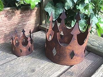 Gartendeko Krone groß offen Metall Rost Deko: Amazon.de: Garten