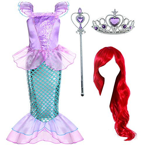 Joy Join Little Girls Princess Mermaid Costume for Girls Dress Up Party  with Wig,Crown, Mace 4-5 Years   Pricepulse