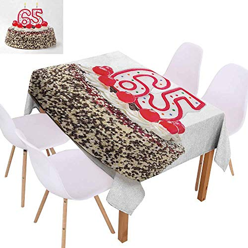 UHOO2018 65th Birthday,Dust-Proof Tablecloth,Burning Candles Number Sixty Five on a Delicious Cake with Tasty Cherries,Machine Washable,Multicolor,70