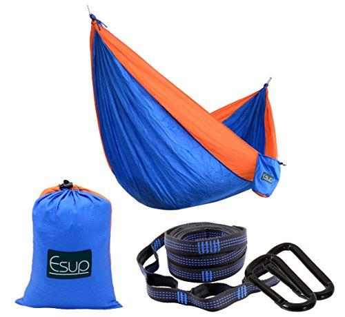 Esup Camping Hammock -Multifunctional Lightweight Nylon Portable Hammock, Best Parachute Hammock For Backpacking, Camping, Travel(Blue/Orange, 108(L) x 55(W))