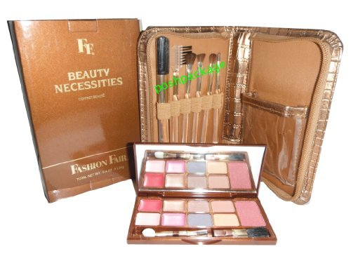 Fashion Fair Beauty Necessities 19 piece set Brushes Blush Eyeshadow Lipstick in Croc Kit Nib