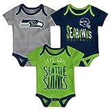NFL by Outerstuff NFL Seattle Seahawks Newborn & Infant Little Tailgater Short Sleeve Bodysuit Set Dark Navy, 12 Months