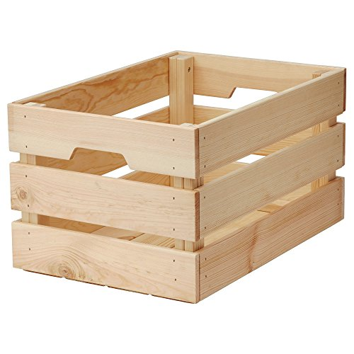 IKEA Knagglig Vintage Unfinished Wood Crate Basket | Box for Home or Office Storage And Organization with Handles [Large Box]