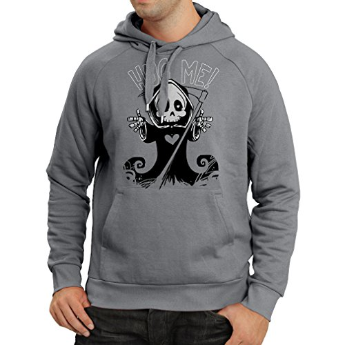 Hoodie The Death is Coming! Halloween Skeleton Clothes, Evil Skull Sickle (Large Graphite Multi -