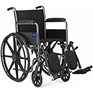 """Medline Comfort Driven Wheelchair with Full-length Arms and Elevating Leg Rests for Extra Comfort, 18"""" Seat"""