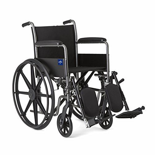 Medline Comfort Driven Wheelchair with Full-length Arms and Elevating Leg Rests for Extra Comfort, 18