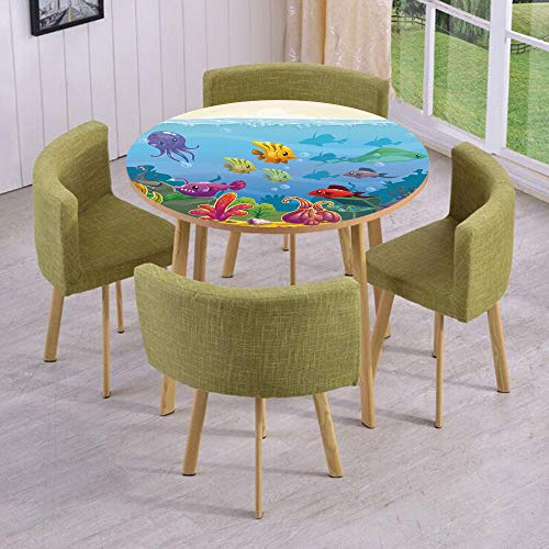 iPrint Round Table/Wall/Floor Decal Strikers/Removable/Funny Cartoon Style Underwater Scenery with Various Animals and Treasure Chest Decorative/for Living Room/Kitchens/Office Decoration