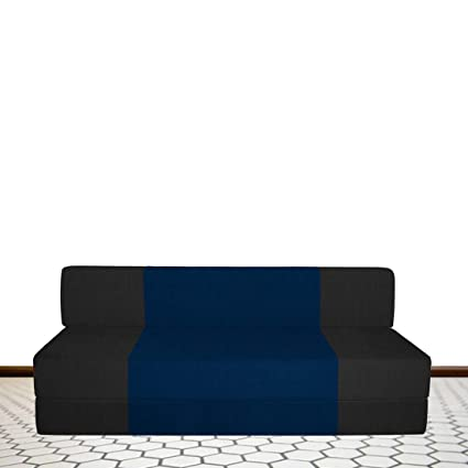 Excellent Spaces Therapy Zeal Fabric 3 Seater Sofa Cum Bed With Bean Bag Cover For Home Black N Blue For Hall Living Tv Guest Room Home Furniture Sofas Inzonedesignstudio Interior Chair Design Inzonedesignstudiocom