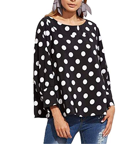 Relaxed Elegante Libero Autunno Tops Maniche Tempo Rotondo Primaverile Camicetta Lunghe Shirts Abbigliamento Dots Felpe Bluse Collo di Polka A Leggero Moda Schwarz Donna Camicia 5aTqqwt