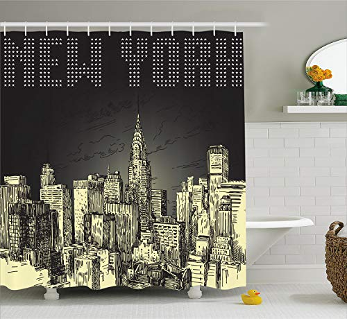 Ambesonne New York Shower Curtain, Grunge Pop Art Style Retro NYC Sky with Iconic Empire States Building City Print, Cloth Fabric Bathroom Decor Set with Hooks, 70