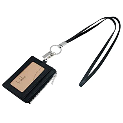 ecbff49acd Boshiho Saffiano Leather Badge Holder ID Card Holder Coin Change Purse with  Keychain Lanyard (Black with Flat Lanyard)