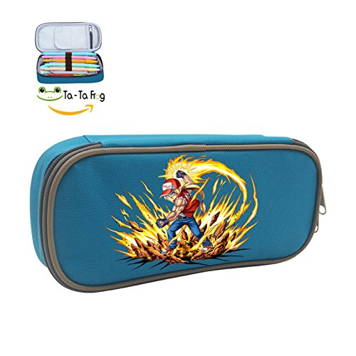 Cute Large Capacity Cool Canvas Pencil Case Pen Bag Terry Bogard Student blue (Terry Frog)