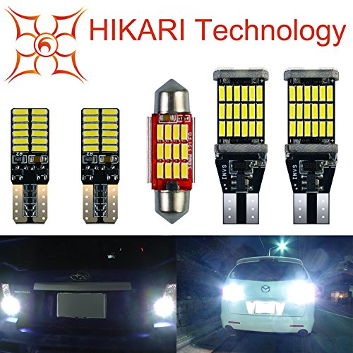 "HIKARI 1200lm Extremely Bright Error Free Led Bulb Set (921 912 Backup lights + T10 194 168 Interior Bulbs + 1.5"" 36MM 6418 DE3423 DE3425 Festoon Dome Map Door Courtesy License Plate Lights)"