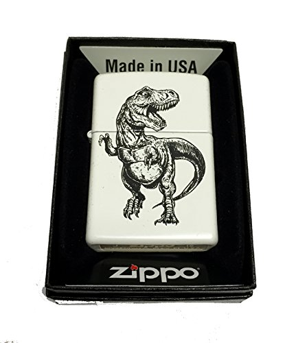 Zippo Custom Lighter - TREX T-REX Tyrannosaurus Illustrated Dinosaur - Regular White (Feather Zippo Lighter)