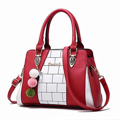 Bolso la Bandolera Negro rojo la CCZUIML del Mujeres de Bolso de Manera de Bag de Las Hombro Moda Iwpq10