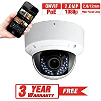 ProVisual 2 Megapixel HD IP Dome Security Camera 2.8/12mm Varifocal Lens Night Vision 30 IR Led POE H.264 1080p ONVIF