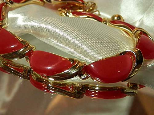 Lisner Signed Red Moonglow Vintage 80 Thermoset Gold Accented Necklace