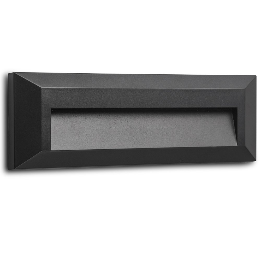 Electric Stair Step and Wall Led Light - Outdoor and Indoor Decorative Lighting - Rectangular, Down Light, Waterproof IP65, 1.6W 120V 4000K 100LM, Black