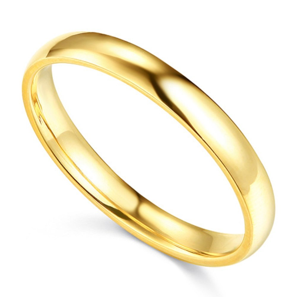 Paradise Jewelers 14K Solid Yellow Gold 3MM Plain Comfort Fit Wedding Band, Size 12 by Paradise Jewelers Ring Collection