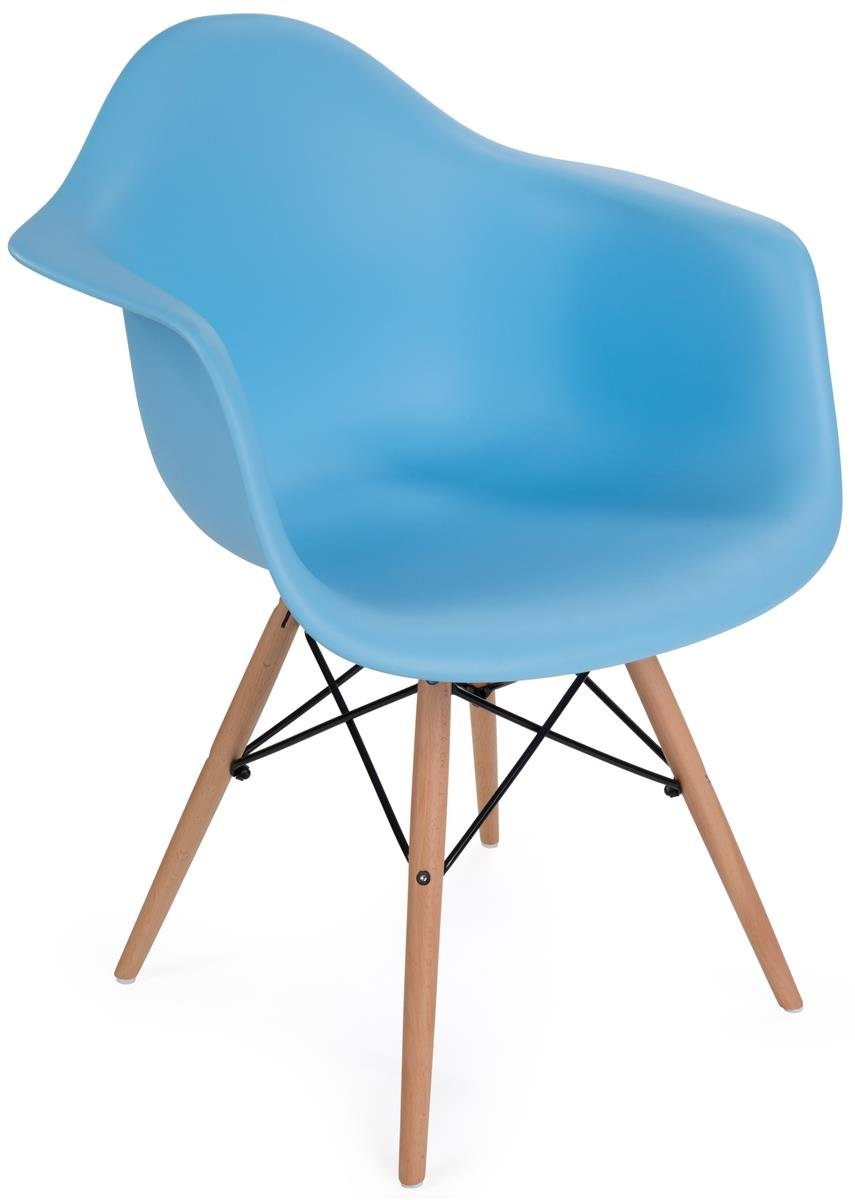 Displays2go, Scoop Plastic Eames-Style Chair, Metal, Plastic, and Wood Construction – Blue Finish, Light Wood Base (FDC32WDABU)