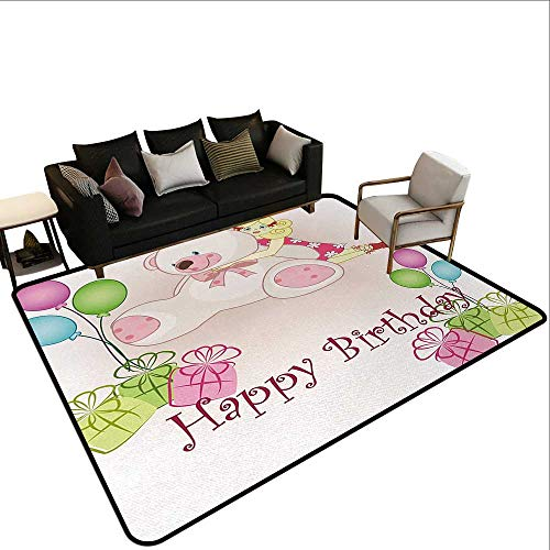 Amer Doll - Abstract Design Area Rug Kids Birthday,Baby Girl Birthday with Teddy Bears Toys Balloons Surprise Boxes Dolls Image,Light Pink,for Living Room Bedrooms Kids Nursery Home Decor 2'x 3'