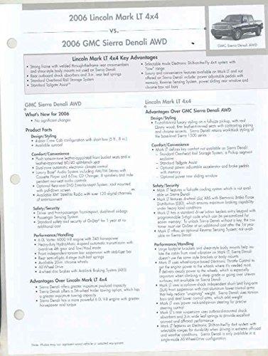 2006 Lincoln Mark LT vs GMC Sierra Denali AWD Pickup Salesman's Brochure