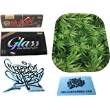 Dabble Dabs Small Leaf Tray & RAW Black 1¼ Rolling Papers & Glass 1¼ Clear Rolling Papers With Dabble Dabs Stick and Scoop Card