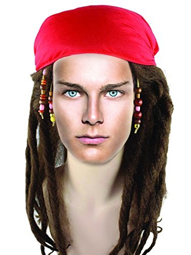 Mens Pirate Wigs Buccaneer Braided Captain Jack Dreadlock Wig For Cosplay Costume Party Halloween