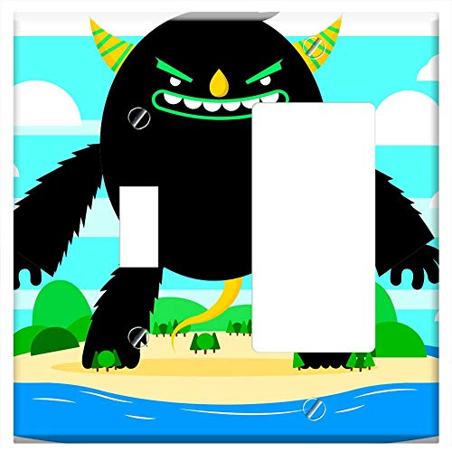 1-Toggle 1-Rocker/GFCI Combination Wall Plate Cover - Illustration Monster Chilling Halloween Hallo ()