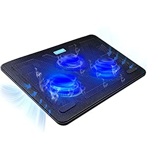 Laptop Cooling Pad, TeckNet Portable Slim Quiet USB Powered Laptop Notebook Cooler Cooling Pad Stand Chill Mat with 3 Blue LED Fans,Fits 12 -17 Inch