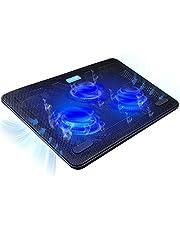 TECKNET Base de Refrigeración Ordenador Portátil de 12-17 Pulgadas 3 Ventiladores Silenciosos con Leds, 2 USB Puertos, 2 Niveles de Diseño Ajustable