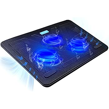 TECKNET Laptop Cooling Pad, Portable Slim Quiet USB Powered Laptop Notebook Cooler Cooling Pad Stand Chill Mat with 3 Blue LED Fans, Fits 12-17 Inches