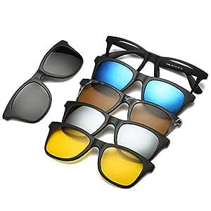 FOONEE Gafas de Sol Vintage, Gafas de Sol Polarizadas Magnéticas Juego de 5 Lentes, Gafas con Clip Gafas de Sol Retro Unisex para Conducir, Pesca, ...