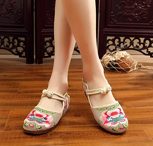 Avacostume Femmes Pivoines Broderie Grenouille Boucle Casual Appartements Mocassins Chaussures Beige